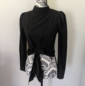 New Persun Gothic High Neck Cropped Tie Bow Blouse